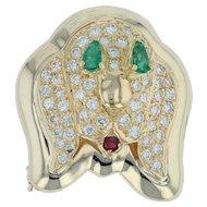 1.03 Gemstone Puppy Dog Brooch - 18k Yellow Gold Diamonds Emeralds Ruby Pin