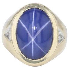 Blue Star Synthetic Sapphire Ring - 14k Yellow Gold Size 9 Statement Diamonds