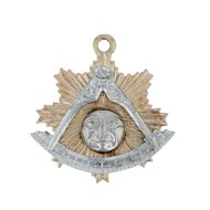 Past Master Mason Charm - 14k Yellow White Gold Masonic York Rite Sun Pendant