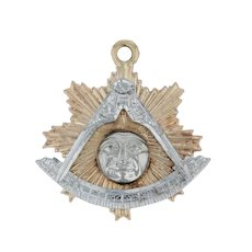 Past Master Mason Charm - 14k Yellow White Gold Masonic York Rite Sun Pendant