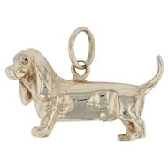 Dachshund Dog Charm - 14k Yellow Gold 3D Puppy Pet Animal Wiener Dog