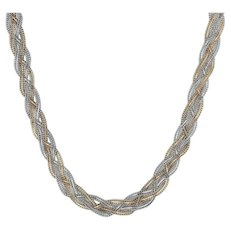 """Woven Bismarck Chain 18"""" - 14k Yellow White Gold 2-Toned Lobster Clasp Italian"""