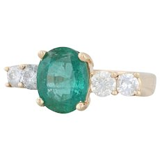 4.25ctw Emerald Diamond Cocktail Ring - 14k Yellow Gold Size 6.75