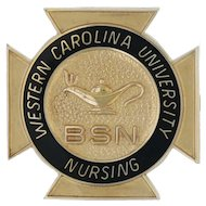 Western Carolina University Nursing School Pin - 14k Yellow Gold Cross BSN