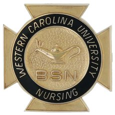 Western Carolina University Nursing School Pin - 14k Yellow Gold Cross BSN