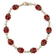 "Ladybug Bracelet 7"" - 14k Yellow Gold Enamel Good Luck Italian 8mm"