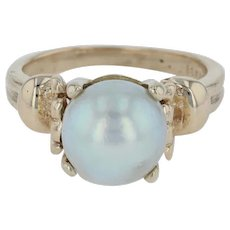 Vintage Cultured Pearl Statement Ring - 14k Yellow Gold Size 5.25 Chunky 9mm