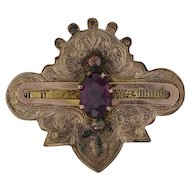 Victorian 1.02ct Garnet Brooch - Antique Ornate Pin 1800s Gold Filled