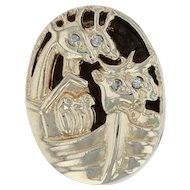 Noah's Ark Slide Charm - 10k Yellow Gold Detailed Giraffe Deer Diamond Accents