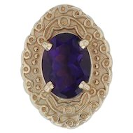Amethyst Slide Charm - 14k Yellow Gold Texture Filigree Glatter Designs