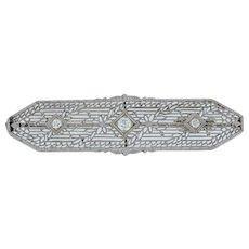 Victorian Diamond Floral Filigree Brooch - 14k White Gold .21ctw