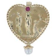 Grecian Statue Heart Brooch Pendant - 14k Yellow Gold Ruby Pearl Figural Pin