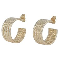 Bead Accented Hoop Earrings - 14k Yellow Gold Stick Posts Women's Chunky