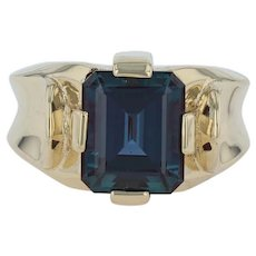 8ct Synthetic Alexandrite Men's Ring - 18k Yellow Gold Size 11.25 Color Change