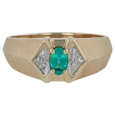 0.42ctw Synthetic Green Quartz & Diamond Ring- 14k Yellow Gold Size 12 Men's May