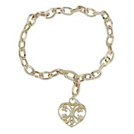 "Heart Charm Bracelet 7.25"" - 14k Yellow Gold Cable Chain Ornate Openwork"