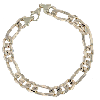 "Figaro Chain Bracelet 9"" - 14k Yellow Gold Lobster Clasp Italy 9.5mm 35.1 Grams"