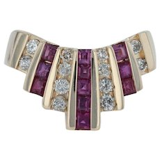 .92ctw Ruby & Diamond Cocktail Ring - 14k Yellow Gold Size 6 Chunky Statement