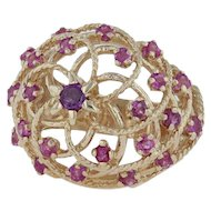 1.35ctw Cocktail Ring - 14k Yellow Gold Size 6.25 Birds Nest Dome Statement