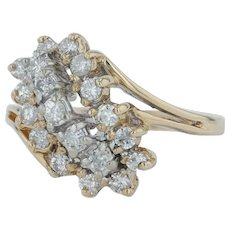 .50ctw Diamond Cluster Ring - 14k Yellow Gold Size 6.5 Cocktail Women's