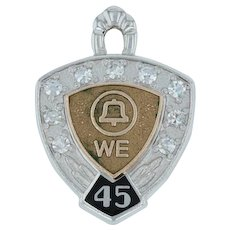Western Electric Service Award Charm - Bell System 14k Gold Diamonds 45 Years