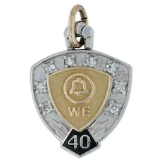 Western Electric Service Award Charm - Bell System 14k Gold Diamonds 40 Years