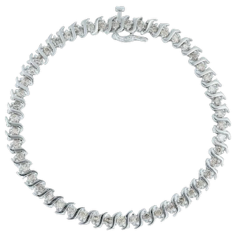 "3ctw Diamond Tennis Bracelet 8"" - 14k White Gold 6mm S-Link Plunger Clasp"