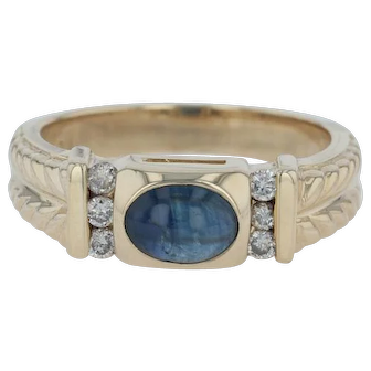 Blue Sapphire .14ctw Diamond Ring - 14k Size 6.75 Wheat Band Vintage