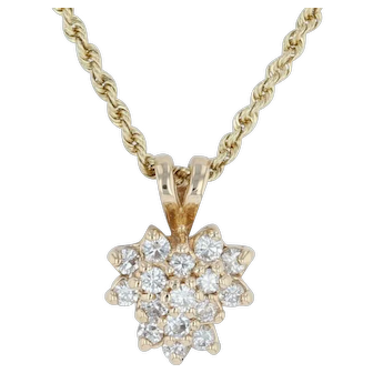 ".48ctw Diamond Cluster Pendant Necklace 18.5"" - 14k Yellow Gold Rope Chain"