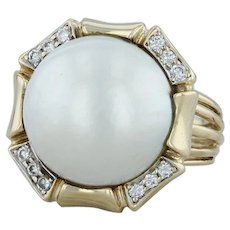 La Triomphe .22ctw Diamond Halo Pearl Ring - 14k Yellow Gold Size 6 Cocktail