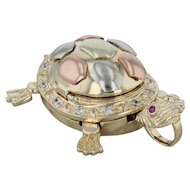 CZ Ruby Turtle & Baby Pendant - 14k Yellow Gold Tri-toned Accents Statement