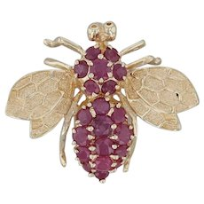 2.10ctw Ruby Bumble Bee Brooch - 14k Yellow Gold Jeweled Insect Statement Pin