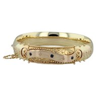 "Victorian .20ctw Synthetic Sapphire Diamond Bangle Bracelet 6.5"" - 18k Gold"