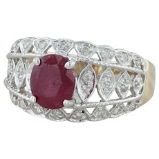 Ruby & Diamond Cocktail Ring - 14k Yellow White Gold Size 6.75 Chunky Statement