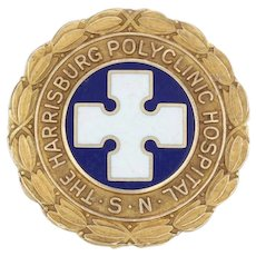 Harrisburg Polyclinic Hospital Nursing School Pin - 10k Gold Cross Medical