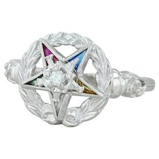 Order Eastern Star Ring - 10k White Gold Size 8 Diamond Gemstones Masonic OES