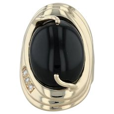 Black Chalcedony Statement Ring- 14k Yellow Gold Size 6 Diamond Accents Cocktail