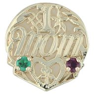 #1 Mom .24ctw Ruby Emerald Heart Charm - 14k Yellow Gold Vintage Slide