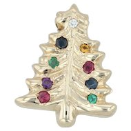 .18ctw Gemstone Christmas Tree Charm - 14k Yellow Gold Vintage Slide Holiday