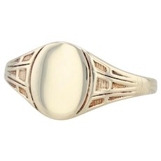 Vintage Engravable Signet Ring - 10k Yellow Gold Size 6.75