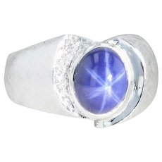 Synthetic Star Sapphire Ring - 14k White Gold Size 9.25-9.5 Diamonds Men's