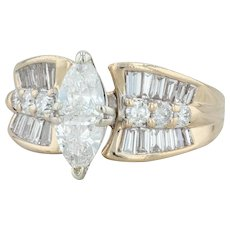 1.80ctw Diamond Cocktail Ring - 14k Yellow Gold Size 7.25 Marquise Engagement