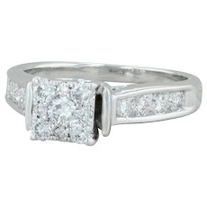 .64ctw Diamond Engagement Ring - 14k White Gold Size 6 Cluster Cathedral