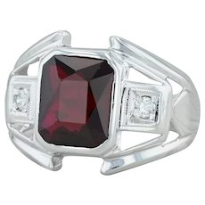 3.82ctw Synthetic Ruby Diamonds Ring - 10k White Gold Size 8.25 Cocktail