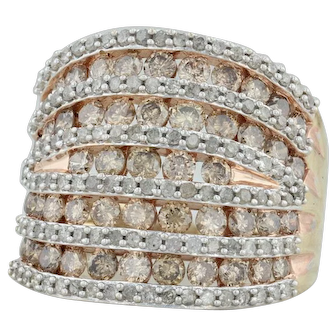 2.60ctw Diamond Cocktail Ring - 10k Yellow Gold Size 7 Champagne & White