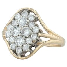 .84ctw Diamond Flower Cluster Ring - 14k Yellow Gold Size 6.5 Cocktail