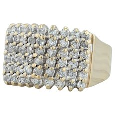 .90ctw Diamond Cocktail Ring - 10k Yellow Gold Size 7 Women's Cluster