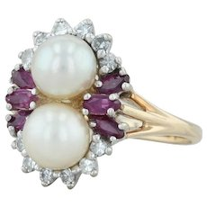 .40ctw Pearl Ruby & Diamond Ring - 14k Yellow Gold Size 6 Women's Cocktail