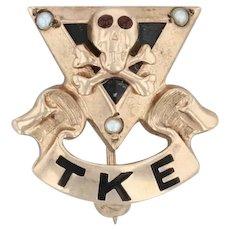 Tau Kappa Epsilon Badge - 10k Gold Pearls Skull TKE Vintage Fraternity Pin
