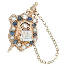 Phi Delta Theta Badge - 10k Yellow Gold Pearls Sapphires Vintage Fraternity Pin